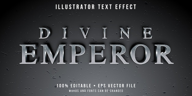 Editable text effect - textured silver text style Premium Vector