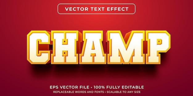Editable text effect in varsity champion style Premium Vector