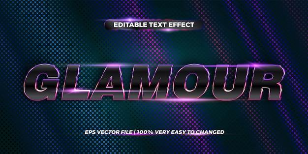 Редактируемый текстовый эффект, слово гламур Premium векторы