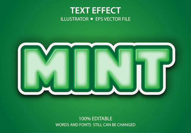 編集可能なテキストスタイル効果かわいいミント Premiumベクター