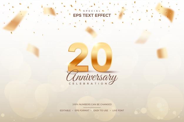 20周年記念番号の編集可能なテキストスタイルの効果。 Premiumベクター