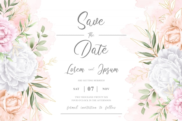 Editable watercolor floral wedding invitation card template Premium Vector