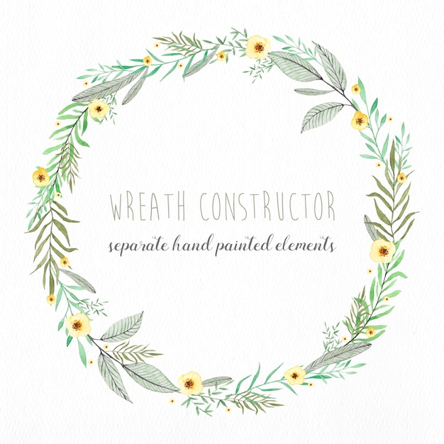 Editable wreath made with separate watercolor elements Free Vector