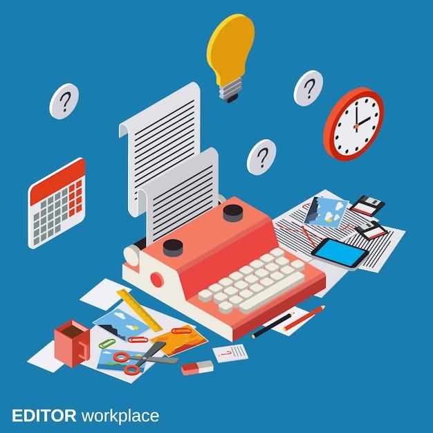 Editor workplace flat isometric vector concept illustration Premium Vector