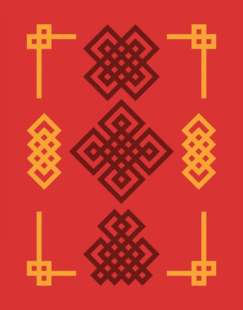 Edless chinese knots set. Premium Vector