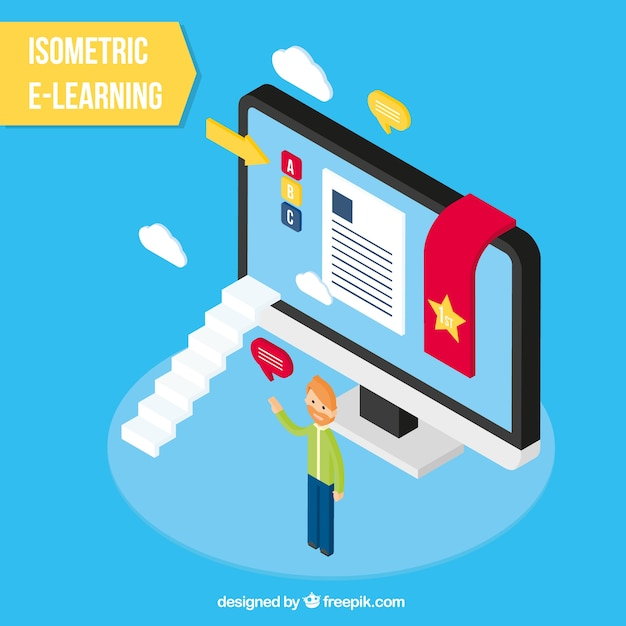 Education background in isometric style Free Vector