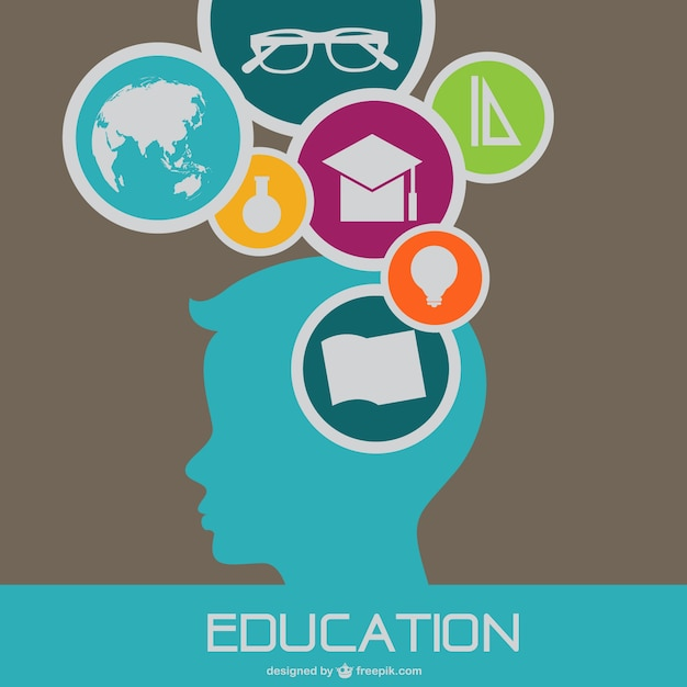 Education background with boy silhouette and school ...