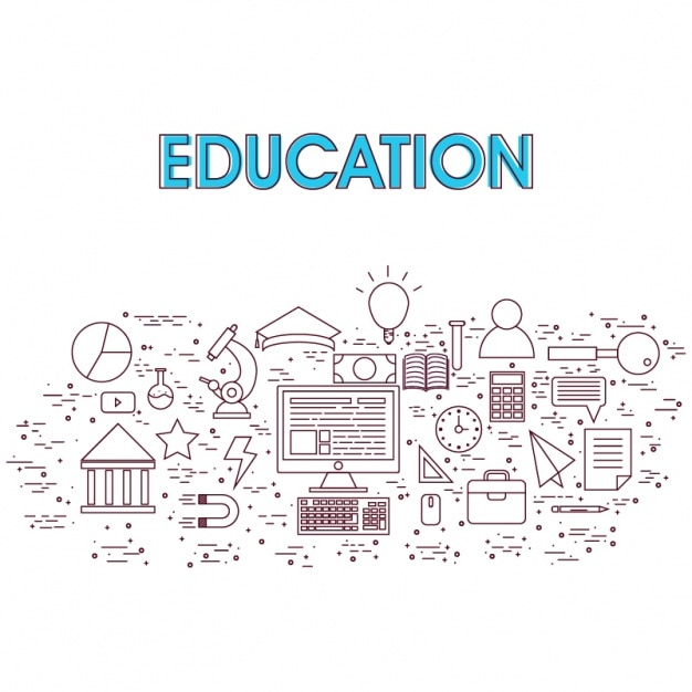 Education background with flat elements | Premium Vector