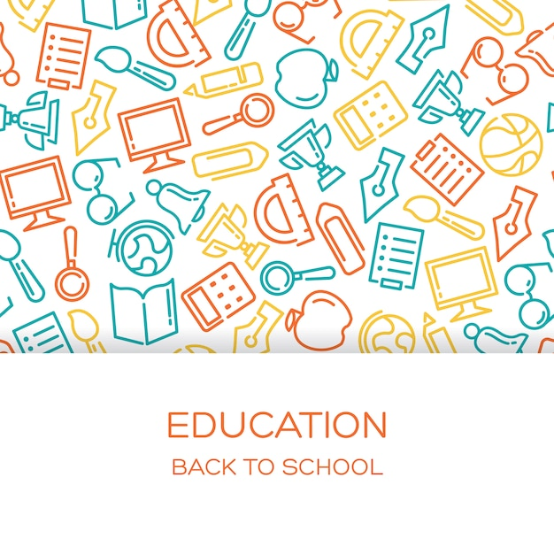 Education background with lined icons Free Vector