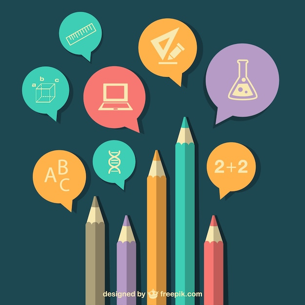 Education background with pencils and subjects icons Free Vector