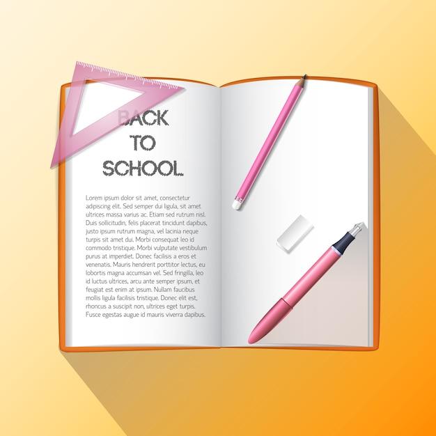 Sfondo di educazione con materiale scolastico Vettore gratuito