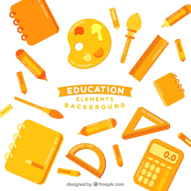Education background with yellow\ elements