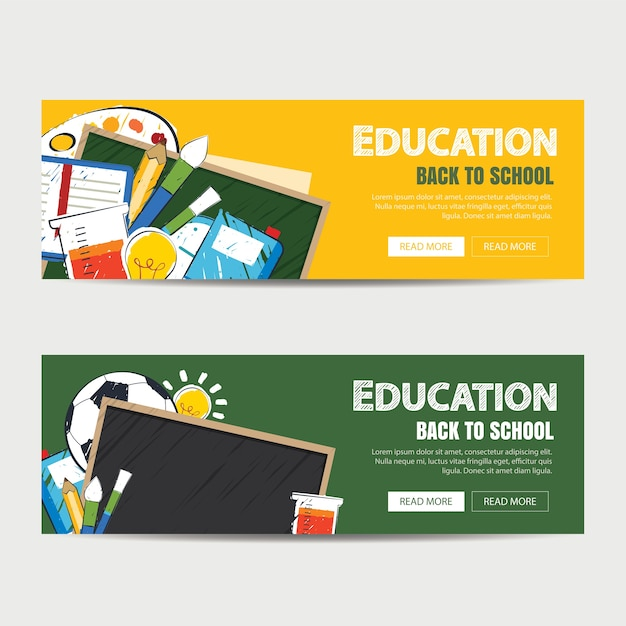Education Banner And Back To School Background Template Premium Vector