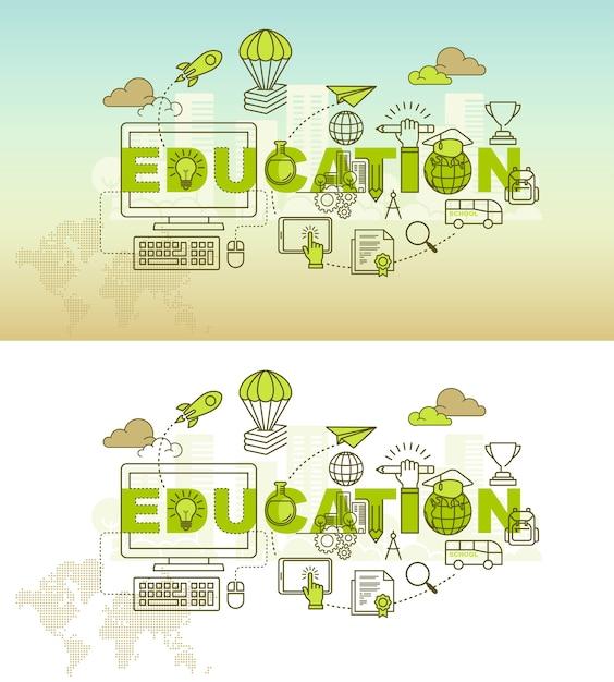 Education Banner Background Design Concept Premium Vector