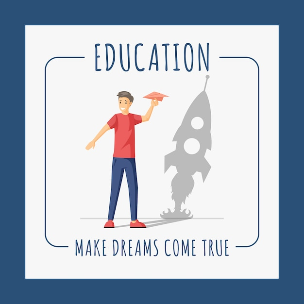 Education Banner Design Template Make Dreams Come True Flat Concept With Text Space Premium Vector