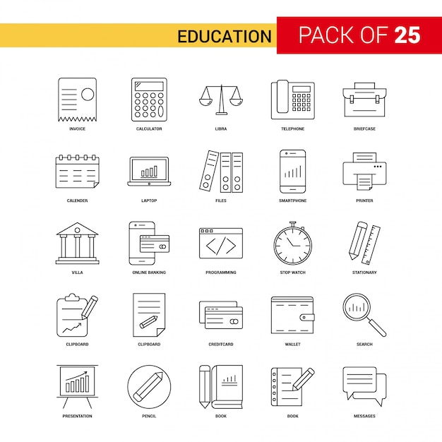Education black line icon - 25 business outline icon set Free Vector