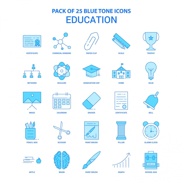 Education blue tone icon pack Free Vector