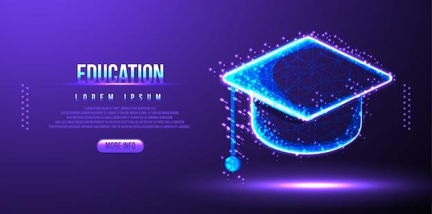 Кепка education, каркас низкополигональная Premium векторы