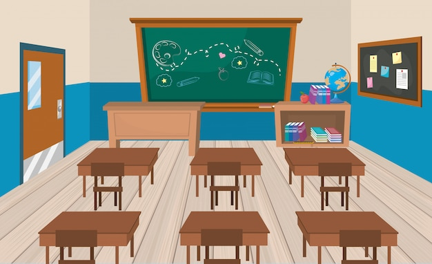 Education classroom with desks and books with blackboard Free Vector