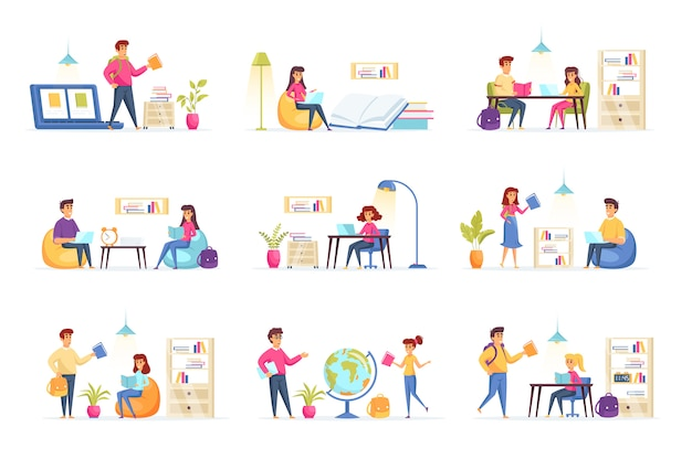 Education collection people characters Premium Vector