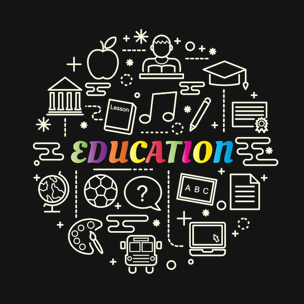 Education colorful gradient with line icons set Premium Vector