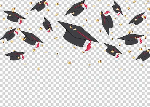 Education concept background. graduation caps and confetti. Premium Vector