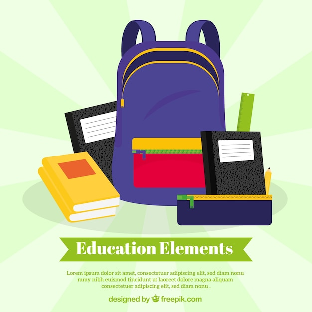 Education concept background with blue bag Free Vector