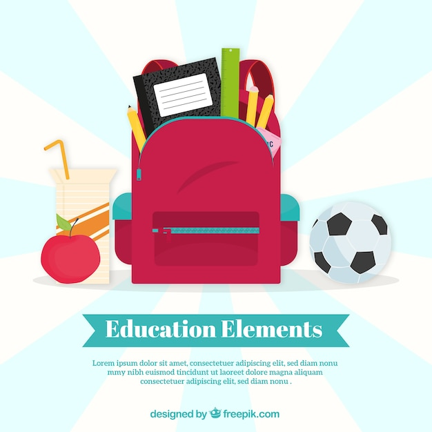 Education concept background with red bag Free Vector
