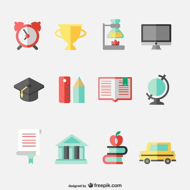 Education concept flat icons set Vector | Free Download