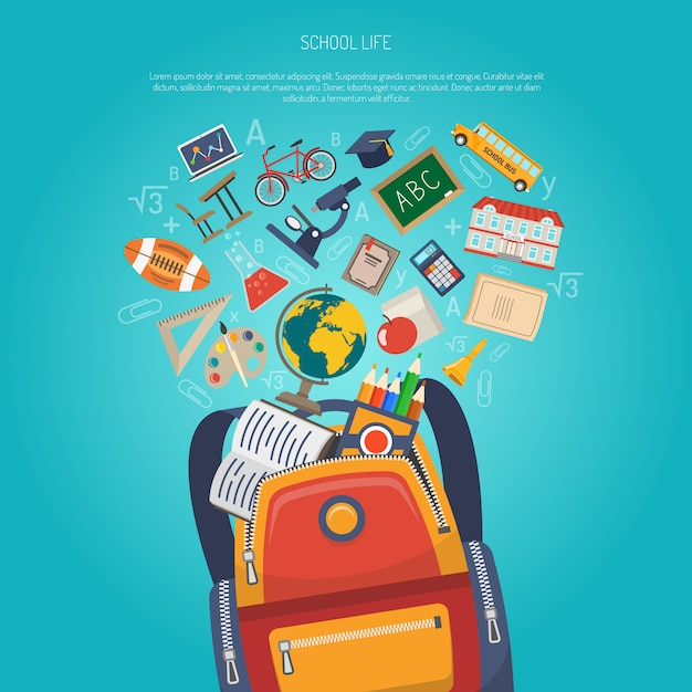 Education concept flat Free Vector