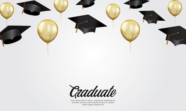 Education concept graduation party banner with illustration of cap Premium Vector