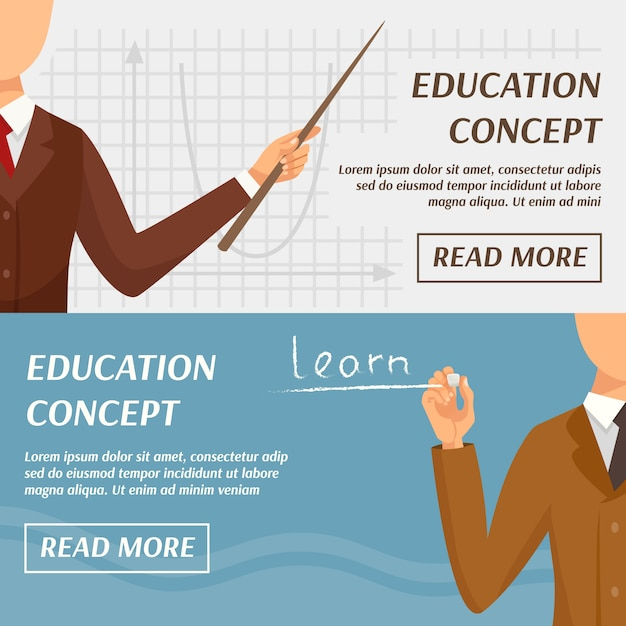 Education concept horizontal banners Free Vector