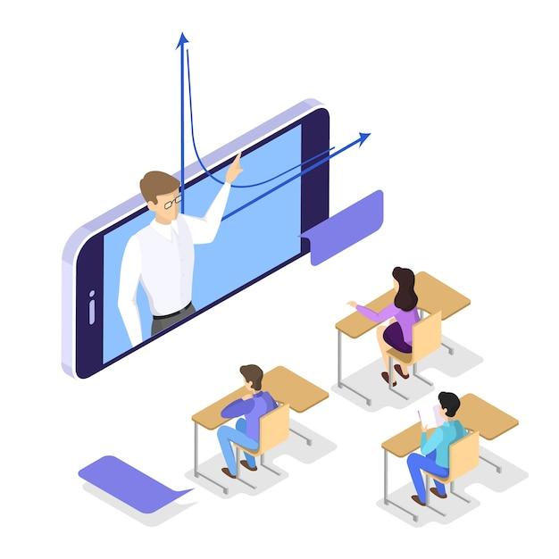 教育のコンセプトです。学習と知識のアイデア。オンラインで勉強します。等角投影図 Premiumベクター