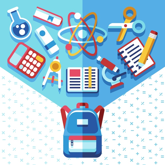 Education concept with backpack and supplies Premium Vector