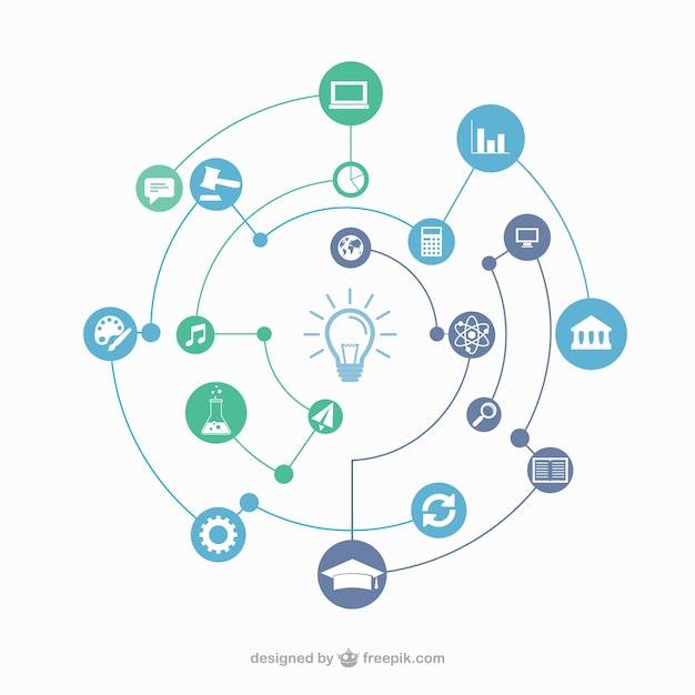 Education connection concept Free Vector