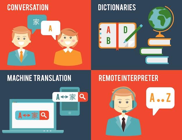 Обучение, словари, общение на разных языках. концепции перевода и словаря в плоском стиле. Бесплатные векторы