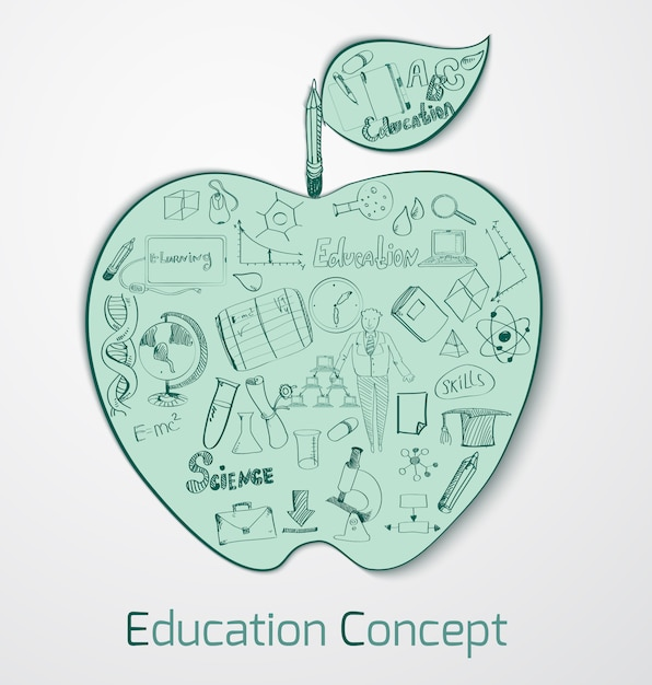 Education doodle concept Free Vector