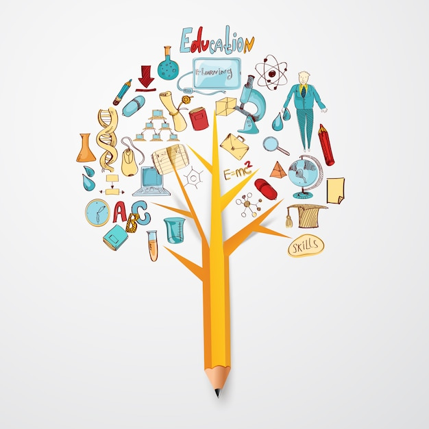 Education doodle concept Free Vector