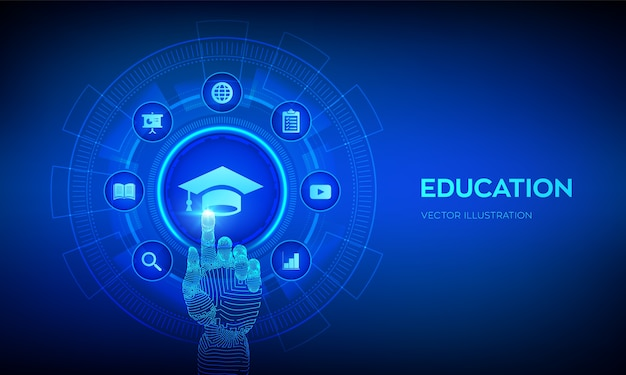 教育。 eラーニングの概念。ウェビナー、オンライントレーニングコース。手で触れるデジタルインターフェース。 Premiumベクター
