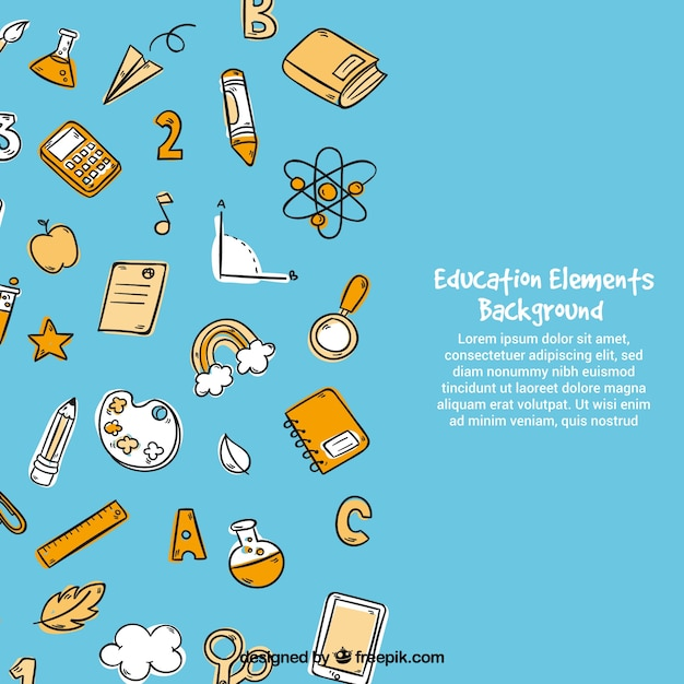 Education elements background in hand drawn style Free Vector