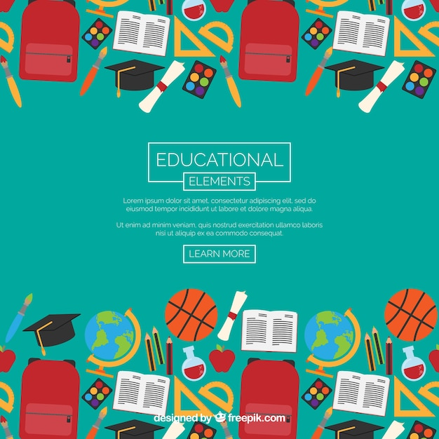 Education elements background in flat\ style