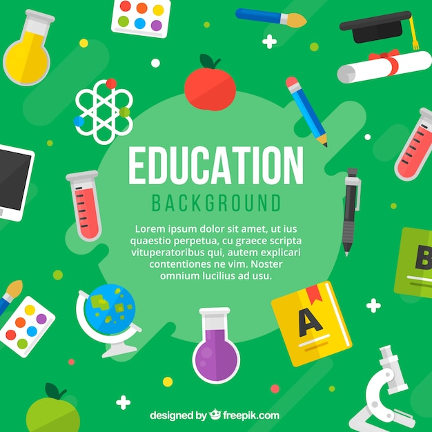 Education elements background in flat style Free Vector