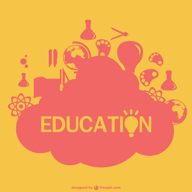 Education elements in pink and yellow Vector | Free Download