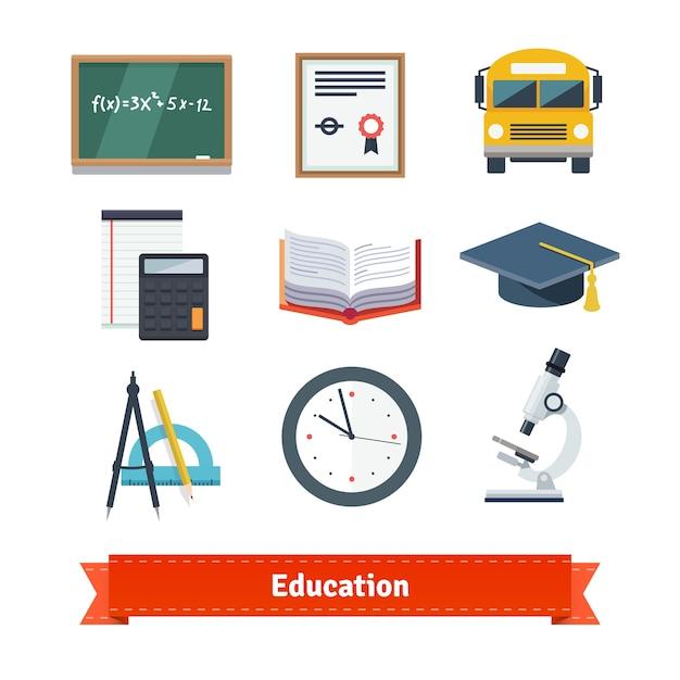 Education flat icon set Free Vector