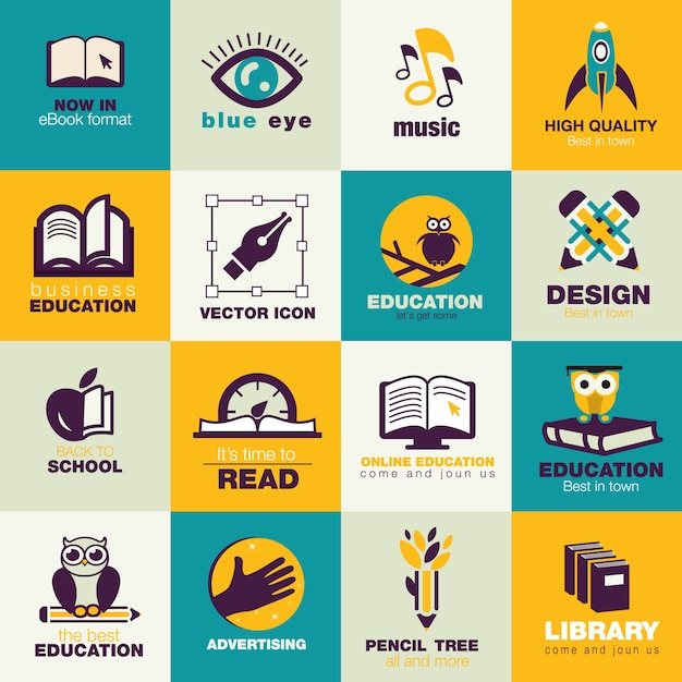Education flat icons pack  Free Vector