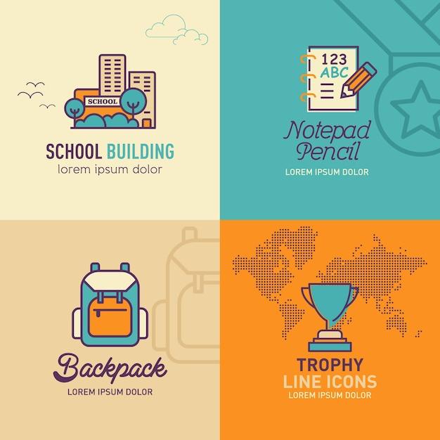 Education flat icons Premium Vector