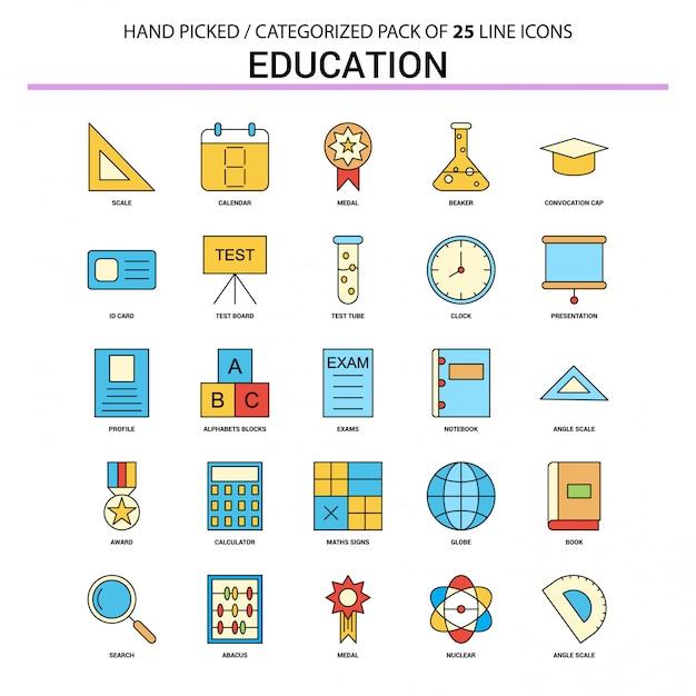 Education flat line icon set Premium Vector