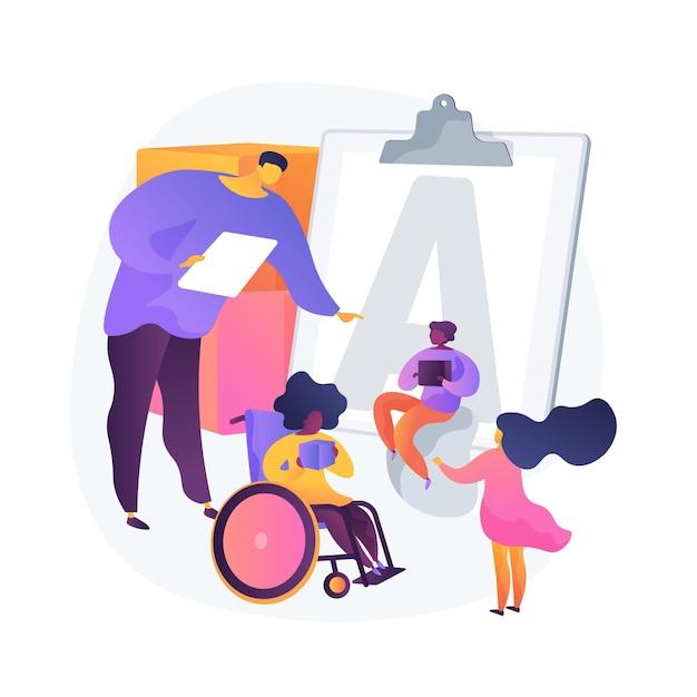 障害児のための教育。幼稚園の車椅子の障害児。機会均等、就学前プログラム、特別支援。 無料ベクター