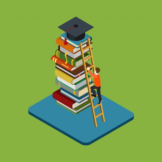 Education graduation isometric concept. man figure climbs on ladder over heap of books to reach graduate cap illustration. Free Vector