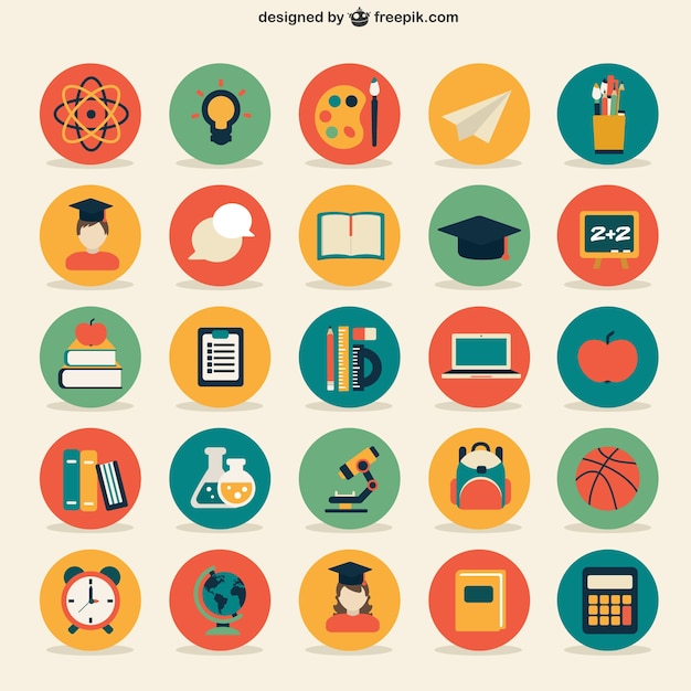 Education icons collection | Free Vector